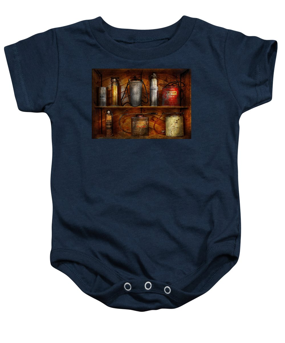 Hdr Baby Onesie featuring the photograph Fireman - Fire Control by Mike Savad