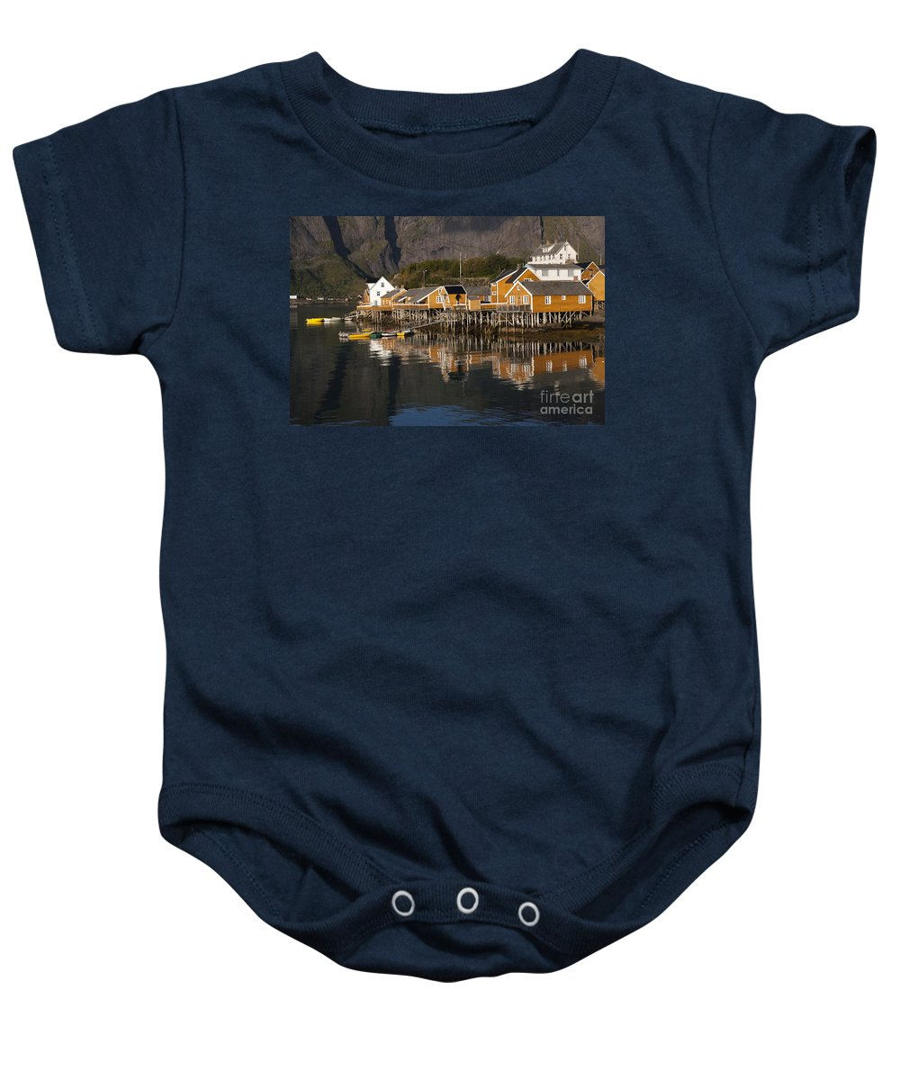 Norway Baby Onesie featuring the photograph Fishermen's Village Sakrisoy by Heiko Koehrer-Wagner