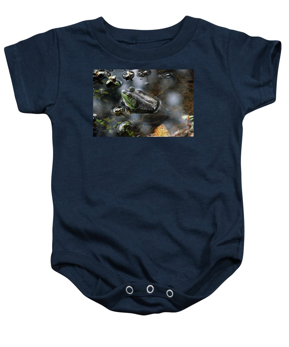 Frog Baby Onesie featuring the photograph Frog In The Millpond by Kay Lovingood