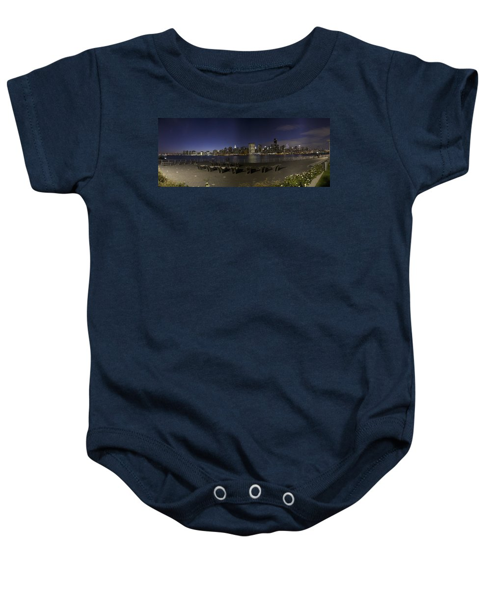 New York City Baby Onesie featuring the photograph From Gantry At Night by Theodore Jones