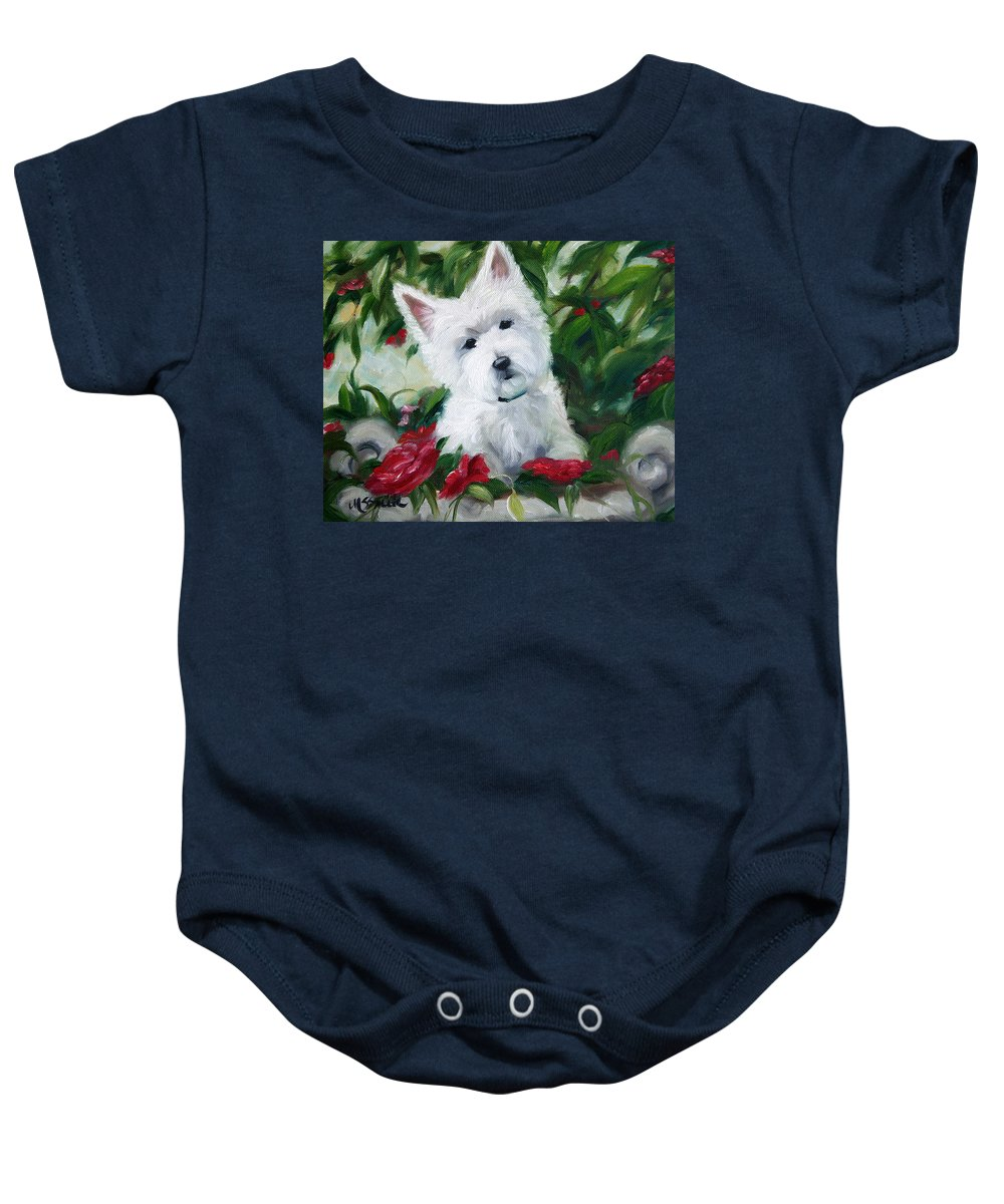 Art Baby Onesie featuring the painting Garden Urn by Mary Sparrow