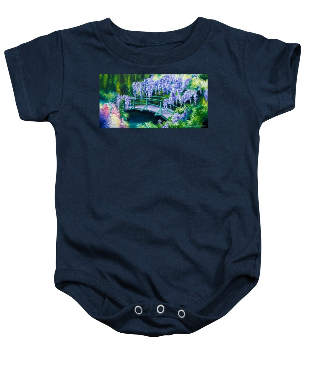 Bright Clouds Baby Onesie featuring the painting Gardens of Givernia II by James Christopher Hill