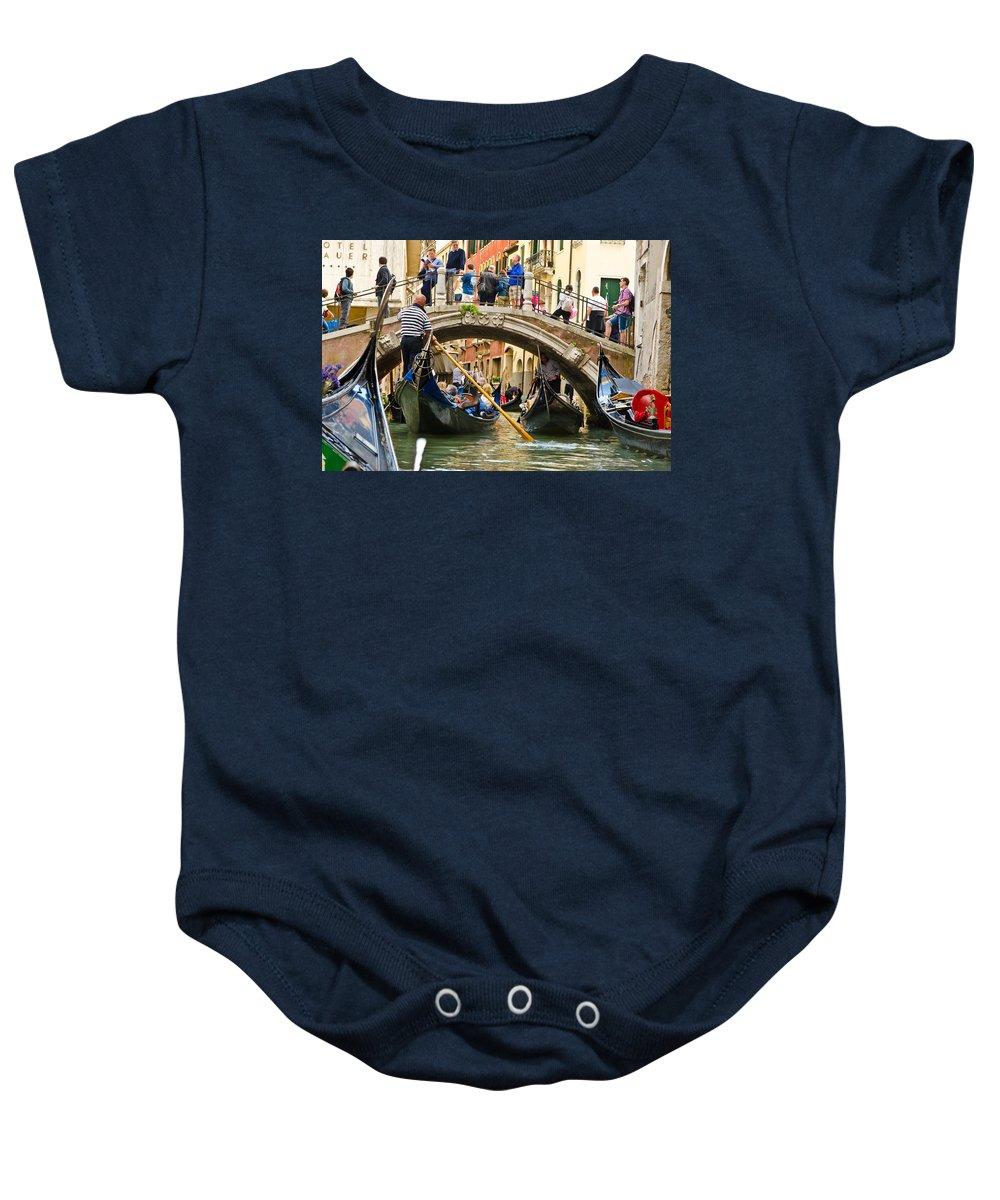 Gondola Baby Onesie featuring the photograph Gondolas Galore by Jon Berghoff