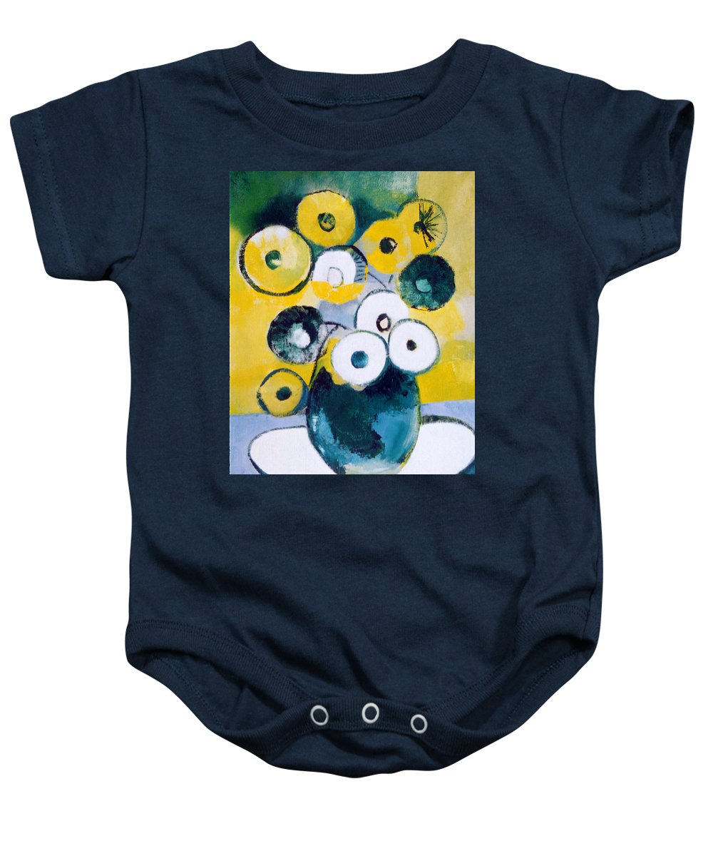 Large Blue-green Jug With Yellow And White Flowers Baby Onesie featuring the painting Green Jug With Round Flowers by Betty Pieper