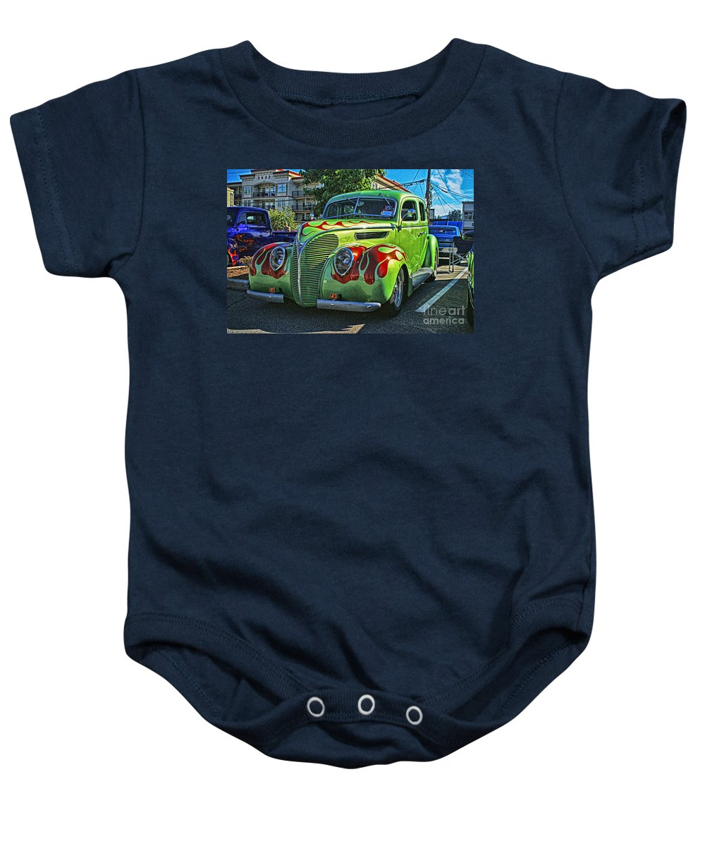 Cars Baby Onesie featuring the photograph Green With Flames Hdr by Randy Harris