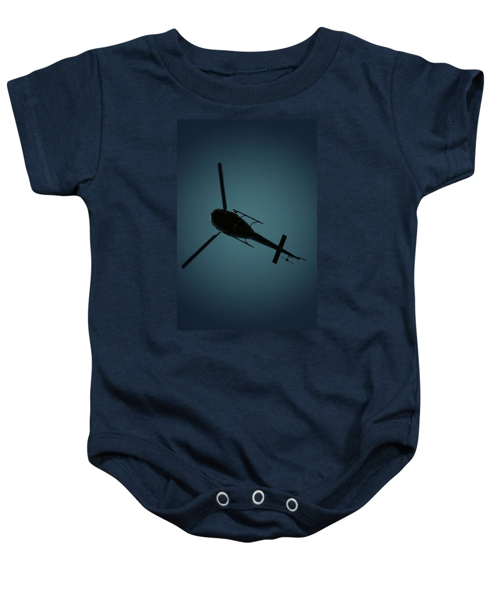 Helicopter Baby Onesie featuring the photograph Helicopter Silhouette by David Weeks