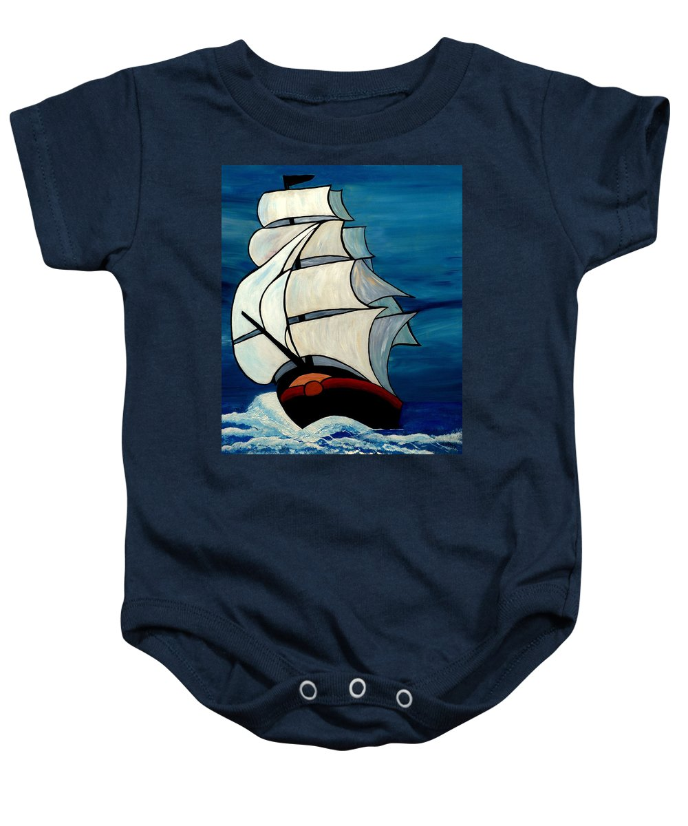 Ocean Baby Onesie featuring the painting High Sea by Cynthia Amaral