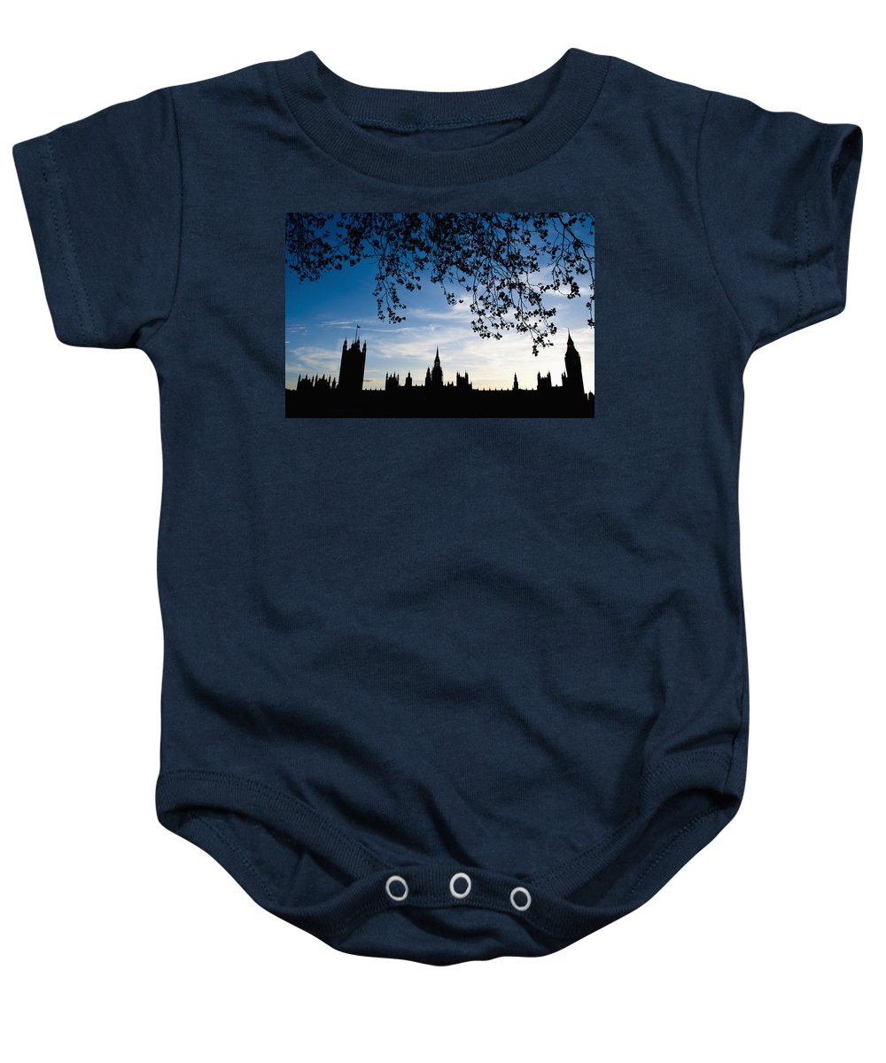 Bankside Baby Onesie featuring the photograph Houses Of Parliament Silhouette by Axiom Photographic