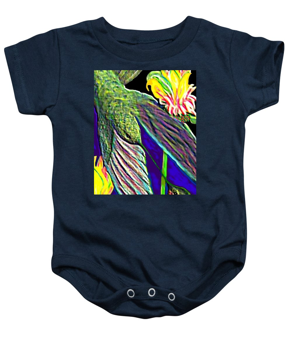 Animals Baby Onesie featuring the painting In Flight by Brenda L Spencer