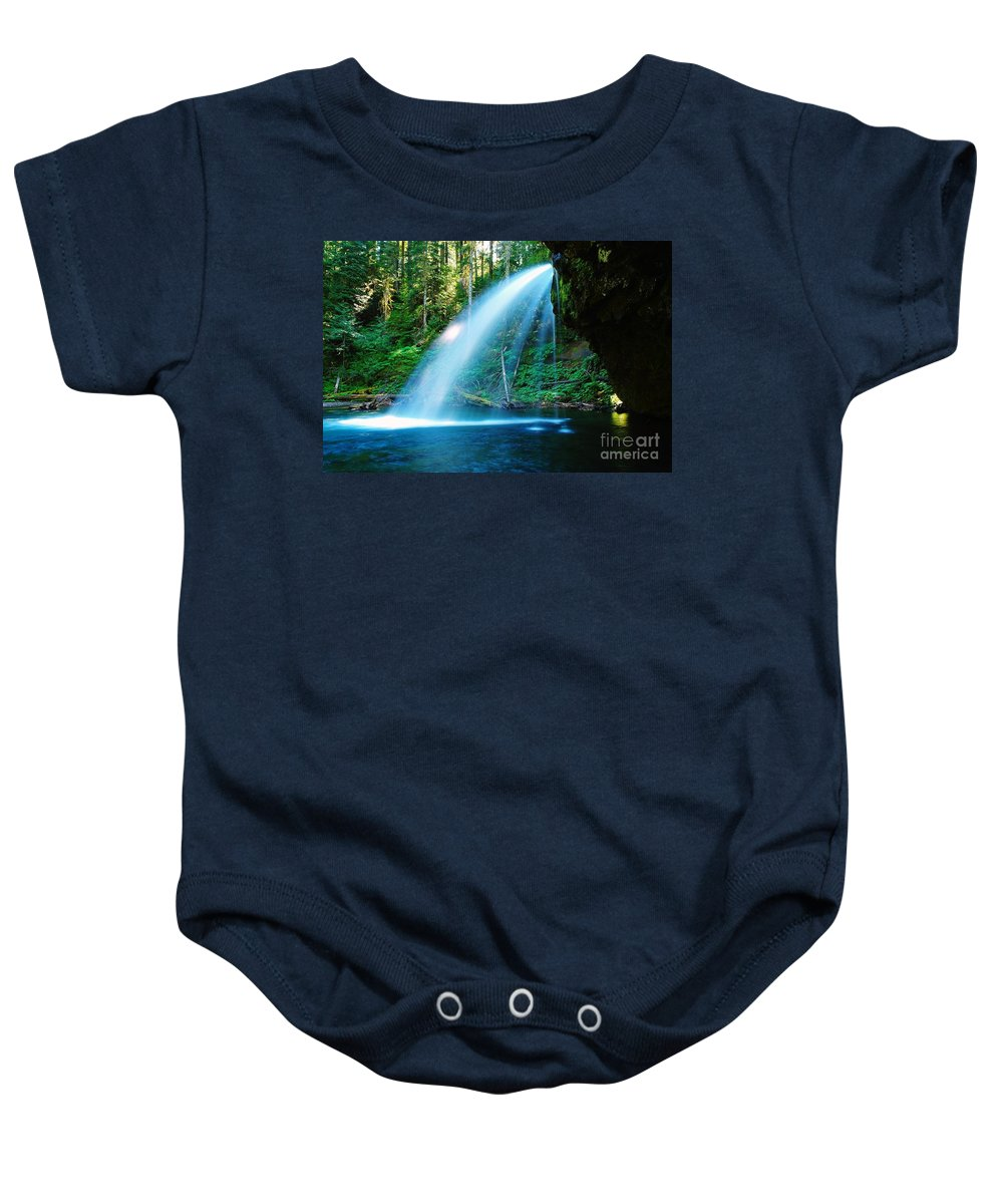 Water. Fall Baby Onesie featuring the photograph Iron Creek Falls From The Side by Jeff Swan