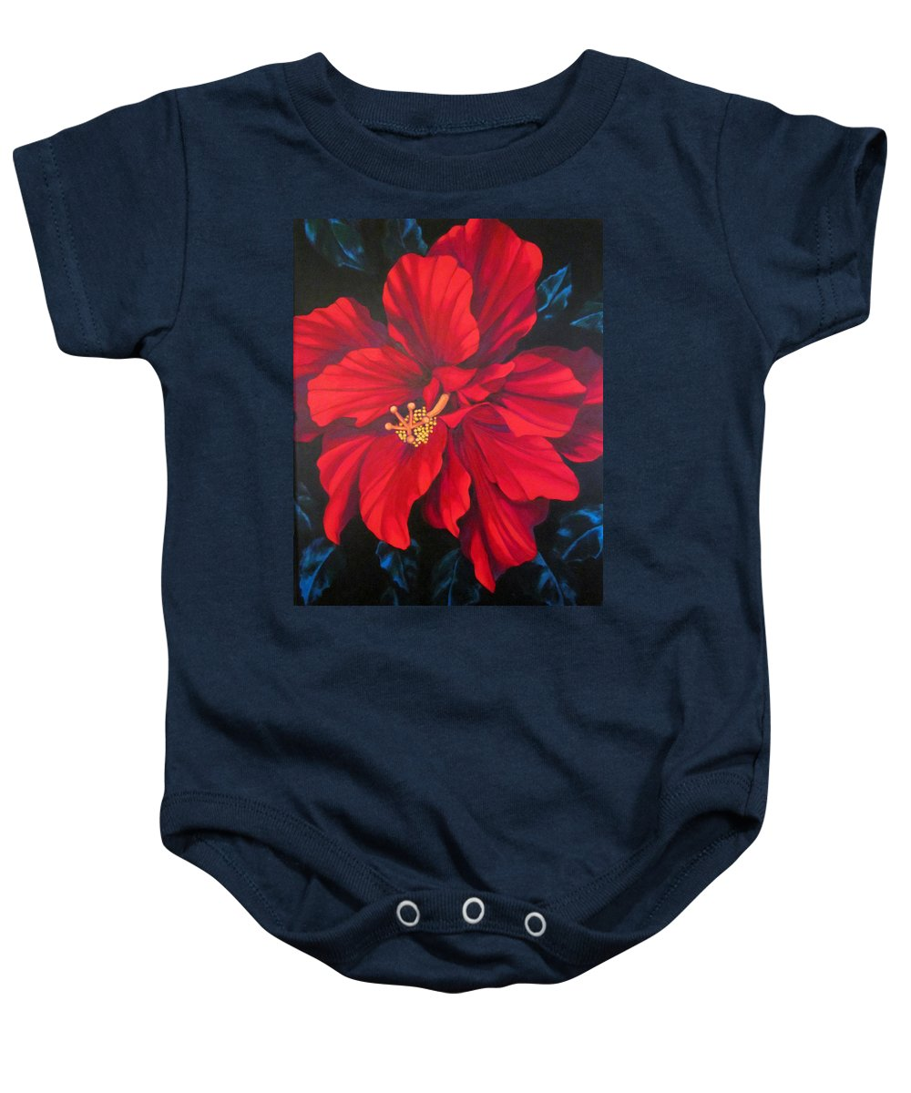 Red Multiple Petaled Hibiscus Flower. Baby Onesie featuring the painting Kwan Yin by Kyra Belan