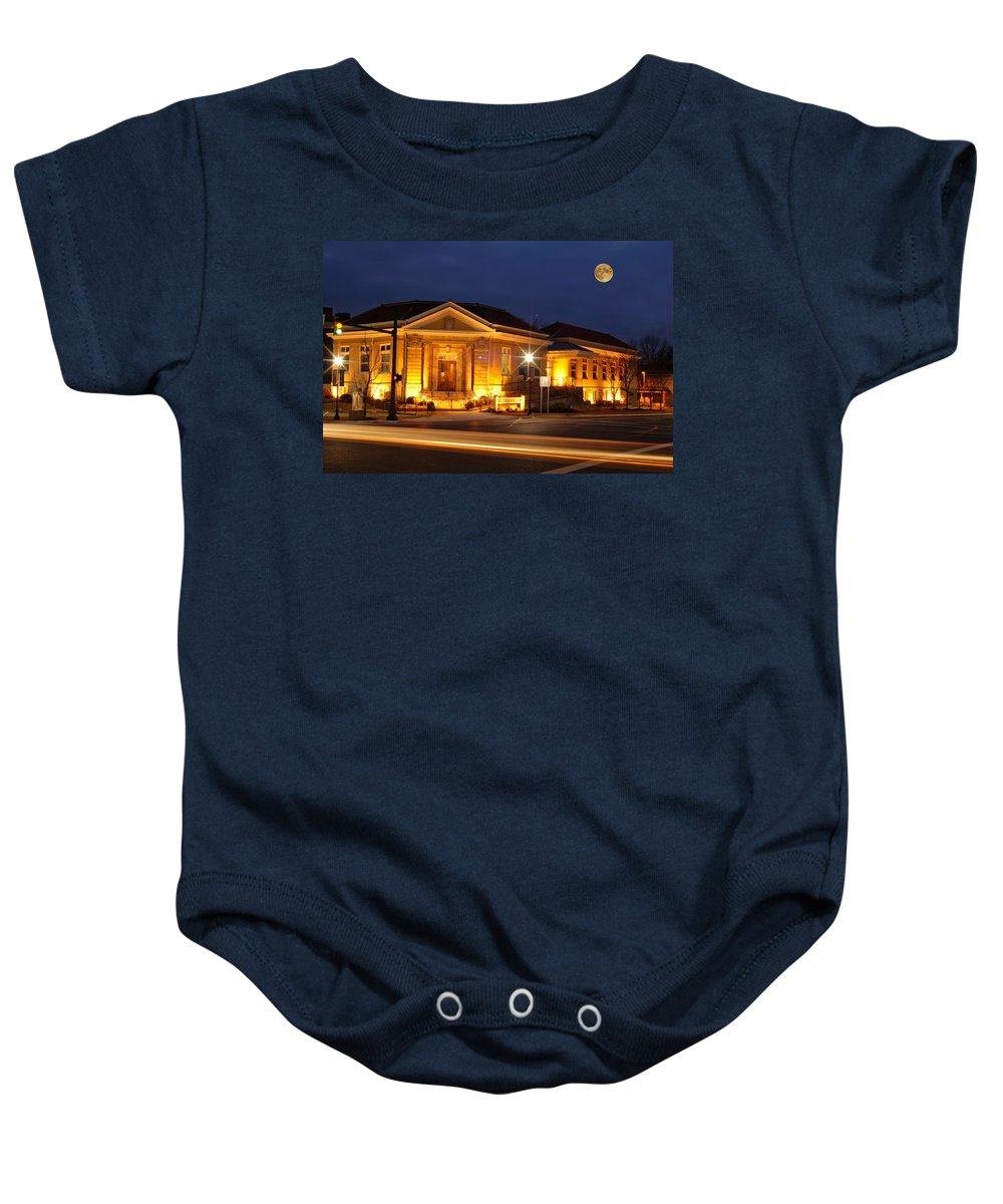 Publiclibrary Baby Onesie featuring the photograph Lebanon Public Library by Randall Branham