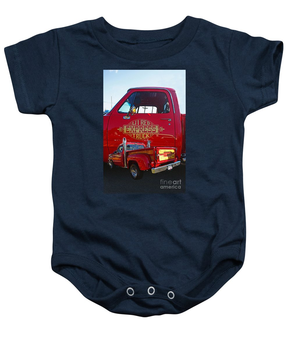 Cars Baby Onesie featuring the photograph Little Red Exprees Door Hdr by Randy Harris