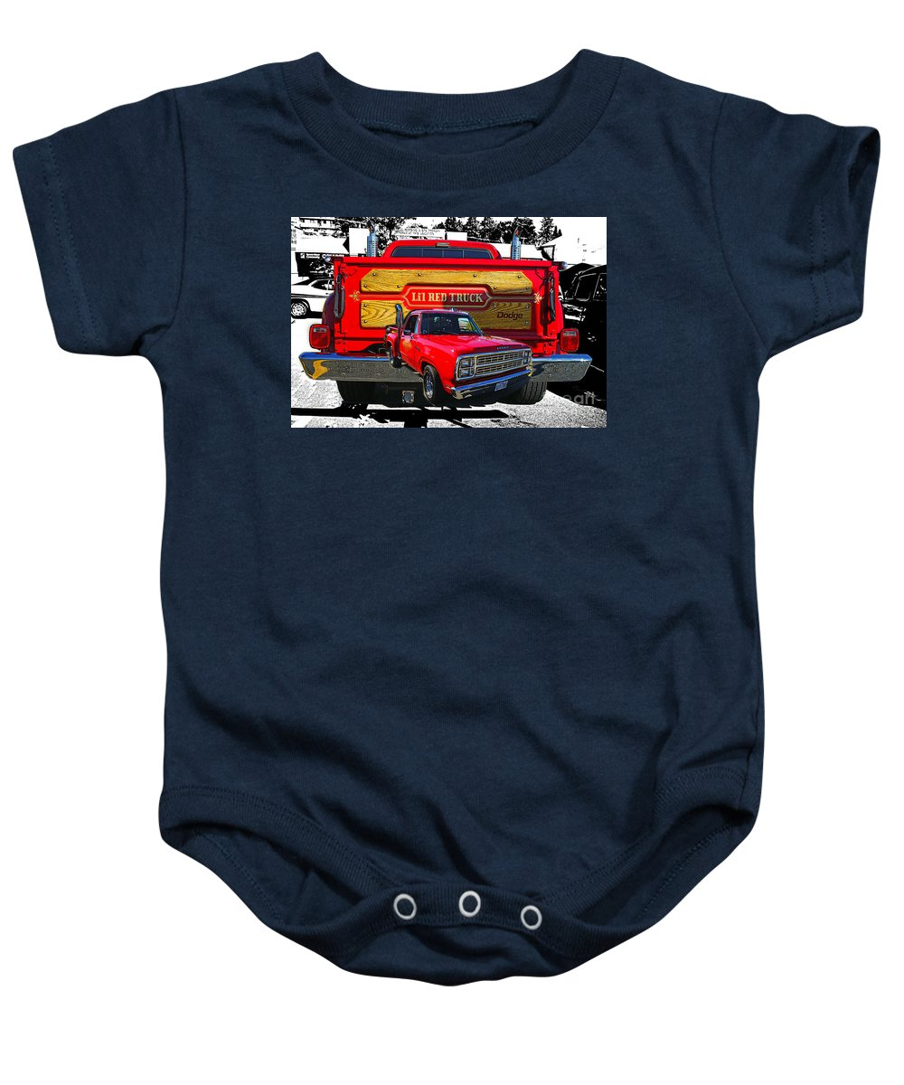 Cars Baby Onesie featuring the photograph Little Red Express Dbl Hdr by Randy Harris