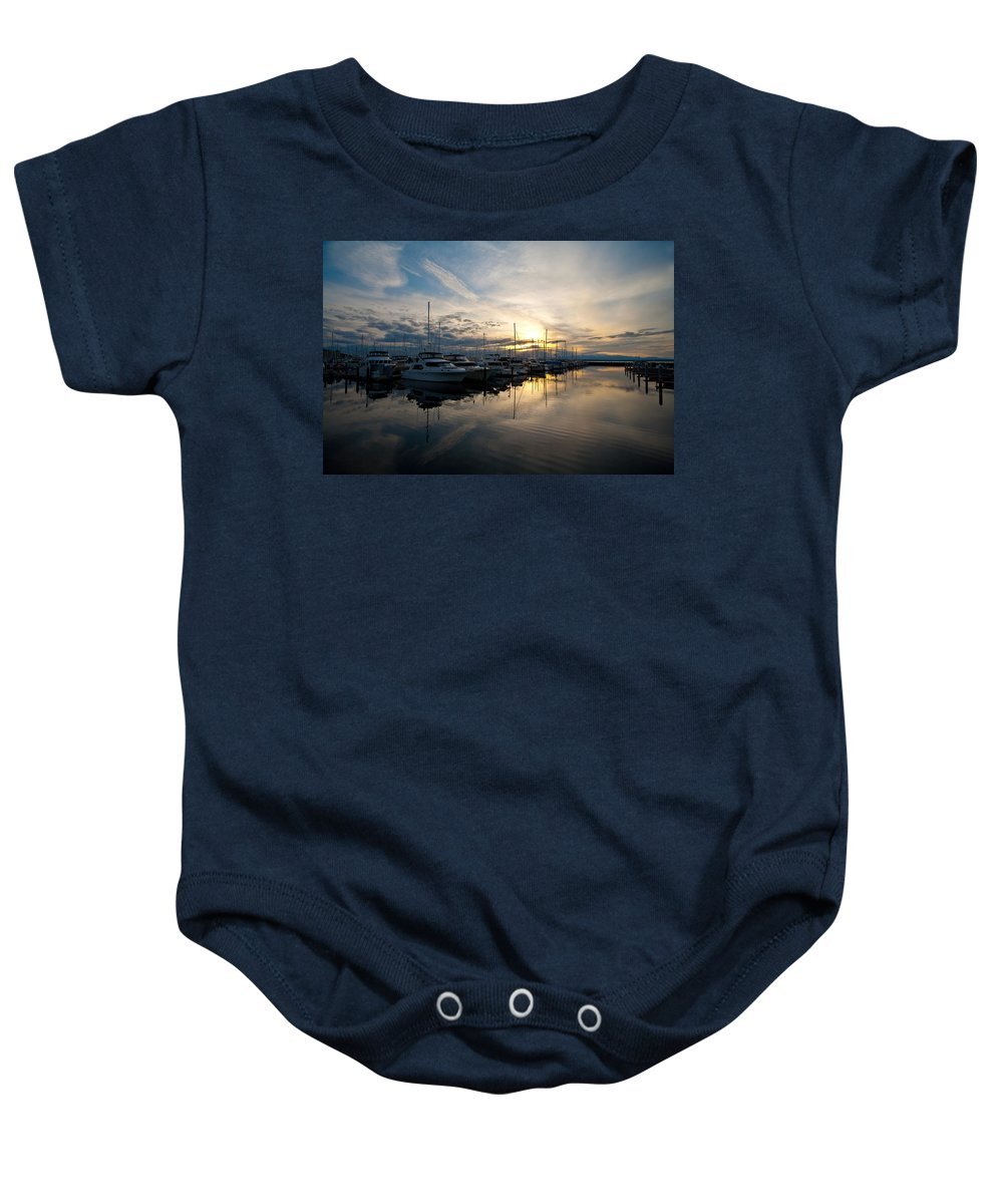 Shilshole Baby Onesie featuring the photograph Marina Evening by Mike Reid