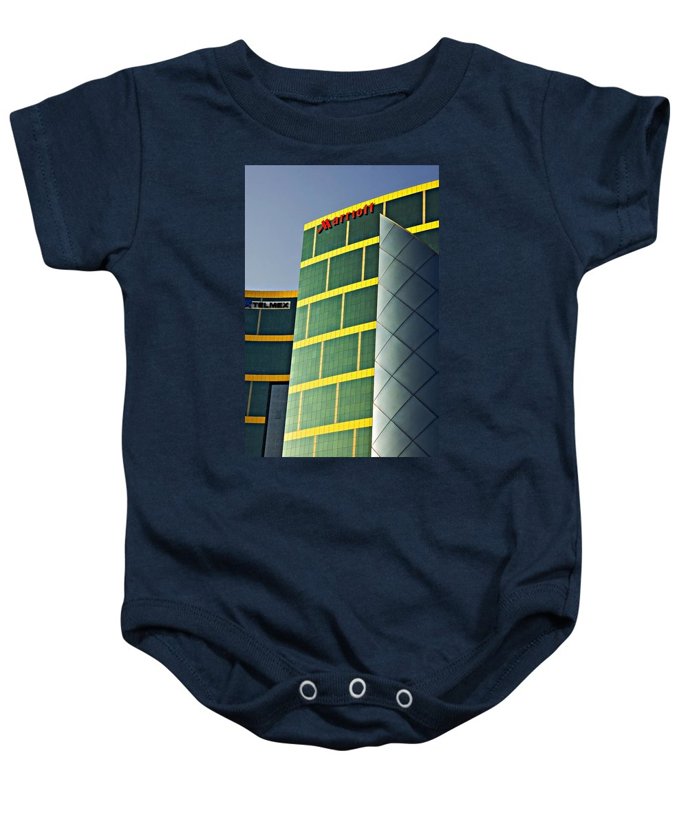 Reflection Baby Onesie featuring the photograph Marriott by Steve Harrington