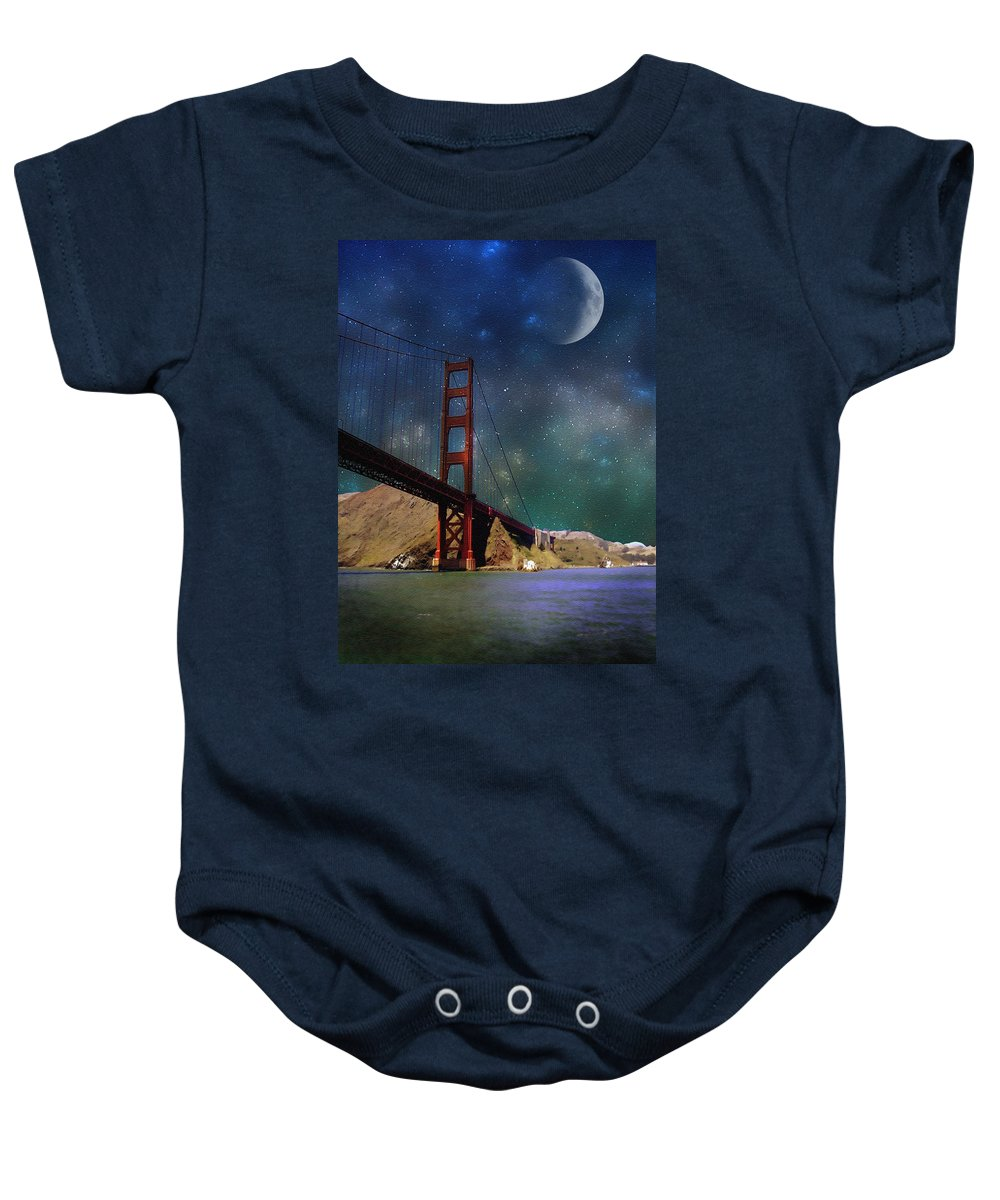 Digial Art Baby Onesie featuring the photograph Moonrise Over The Golden Gate by Ellen Heaverlo