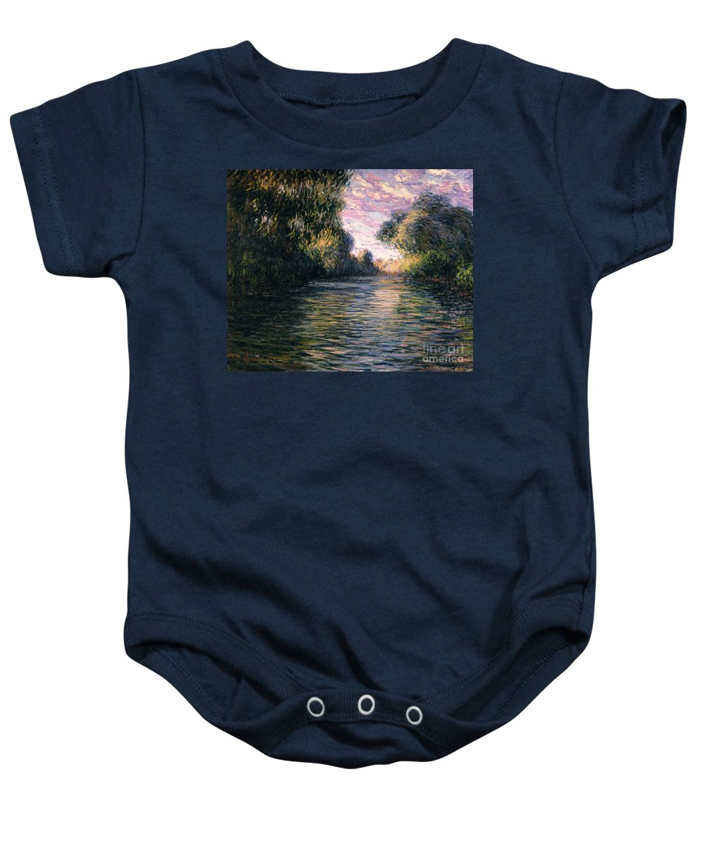 Impressionist;river;landscape;matin Baby Onesie featuring the painting Morning On The Seine by Claude Monet