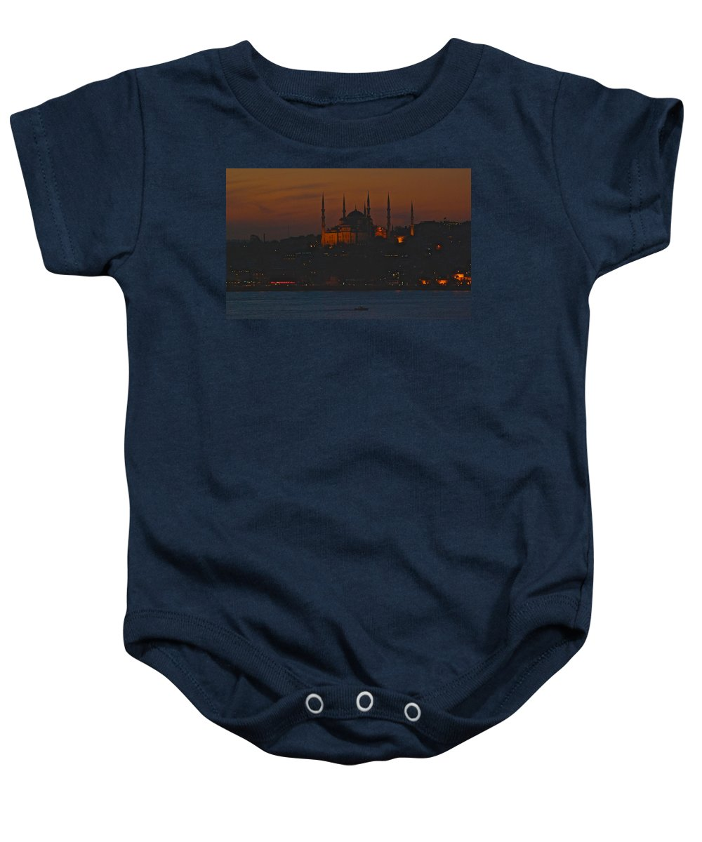 Istanbul Baby Onesie featuring the photograph Mosque At Dusk by Eric Tressler
