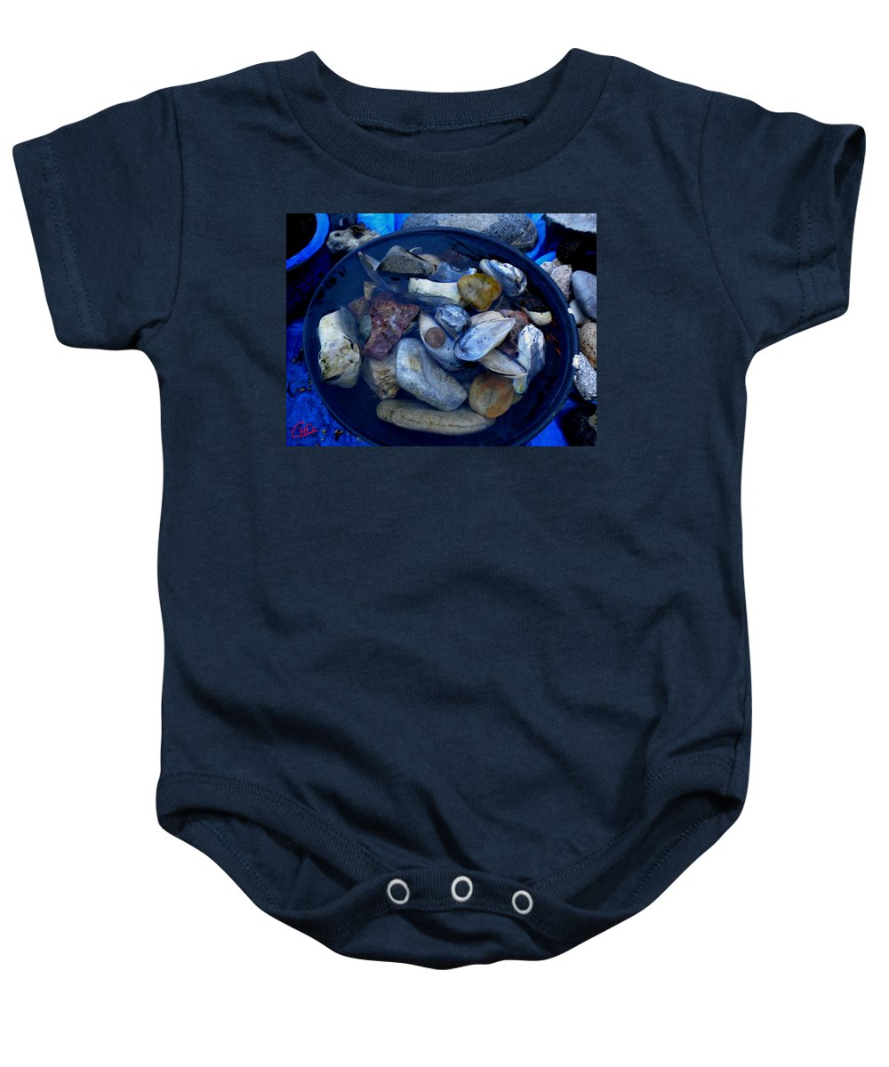 Colette Baby Onesie featuring the photograph Mother Earth Stones Reloeding Fullmoon Energy In Ice Cold Water by Colette V Hera Guggenheim