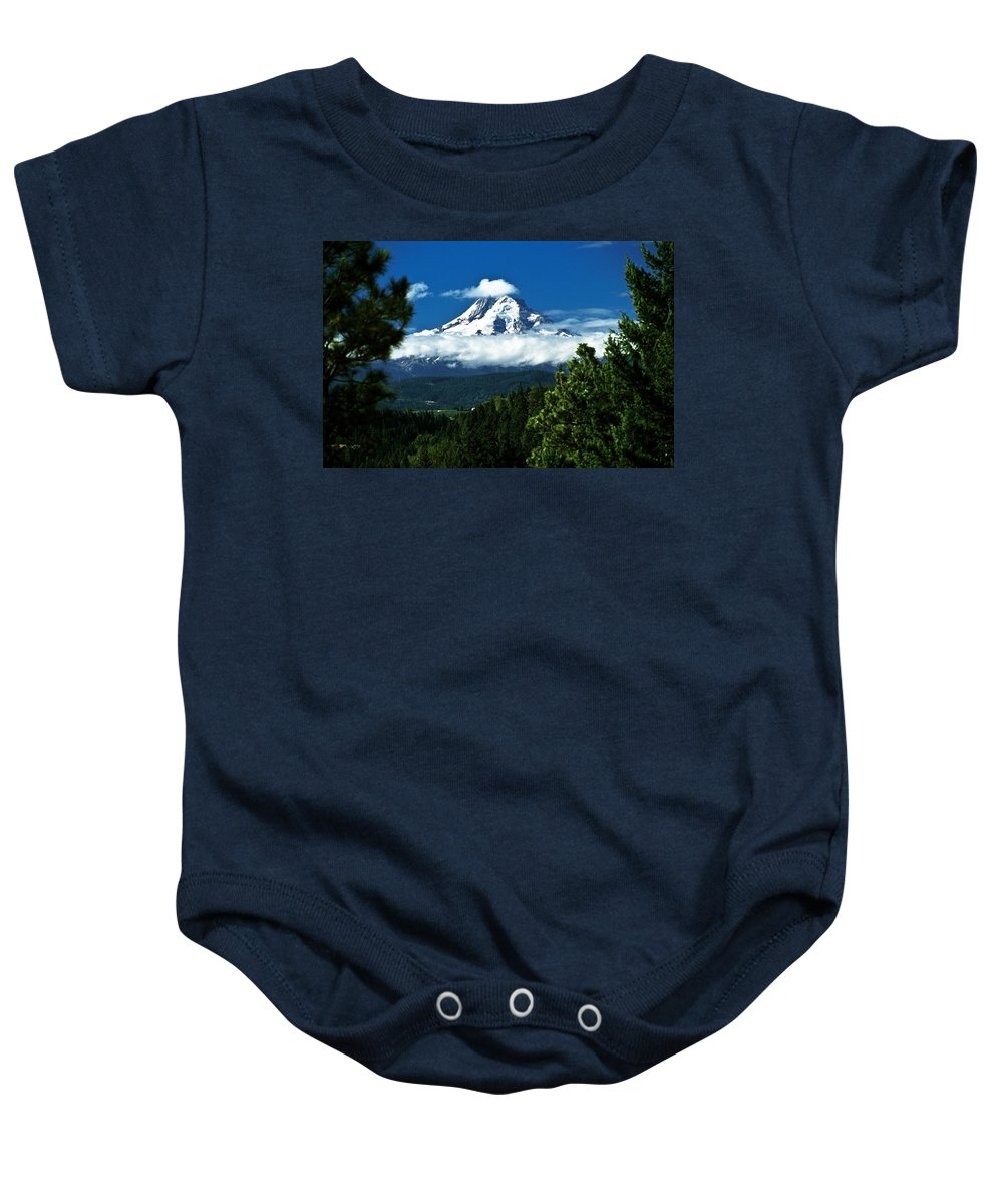 Clouds Baby Onesie featuring the photograph Mount Hood Framed By Trees, Oregon, Usa by John Doornkamp
