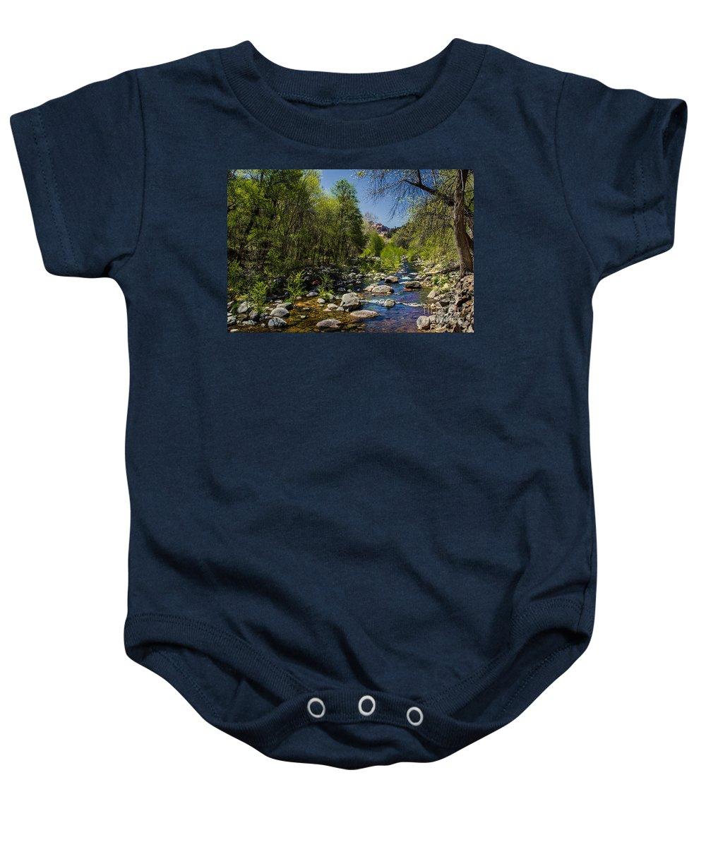 Stream Baby Onesie featuring the photograph Oak Creek by Robert Bales