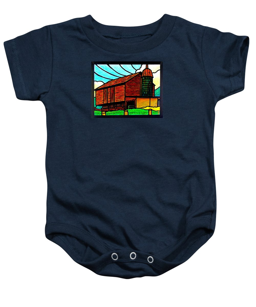 Old Baby Onesie featuring the painting Old Barn On Keezletown Road by Jim Harris