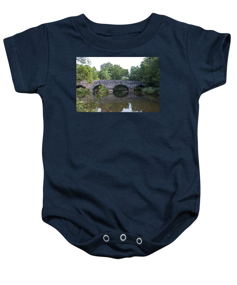 Old Sumneytown Pike Bridge Over The Perkiomen Creek Baby Onesie featuring the photograph Old Sumneytown Pike Bridge Over The Perkiomen Creek by Bill Cannon