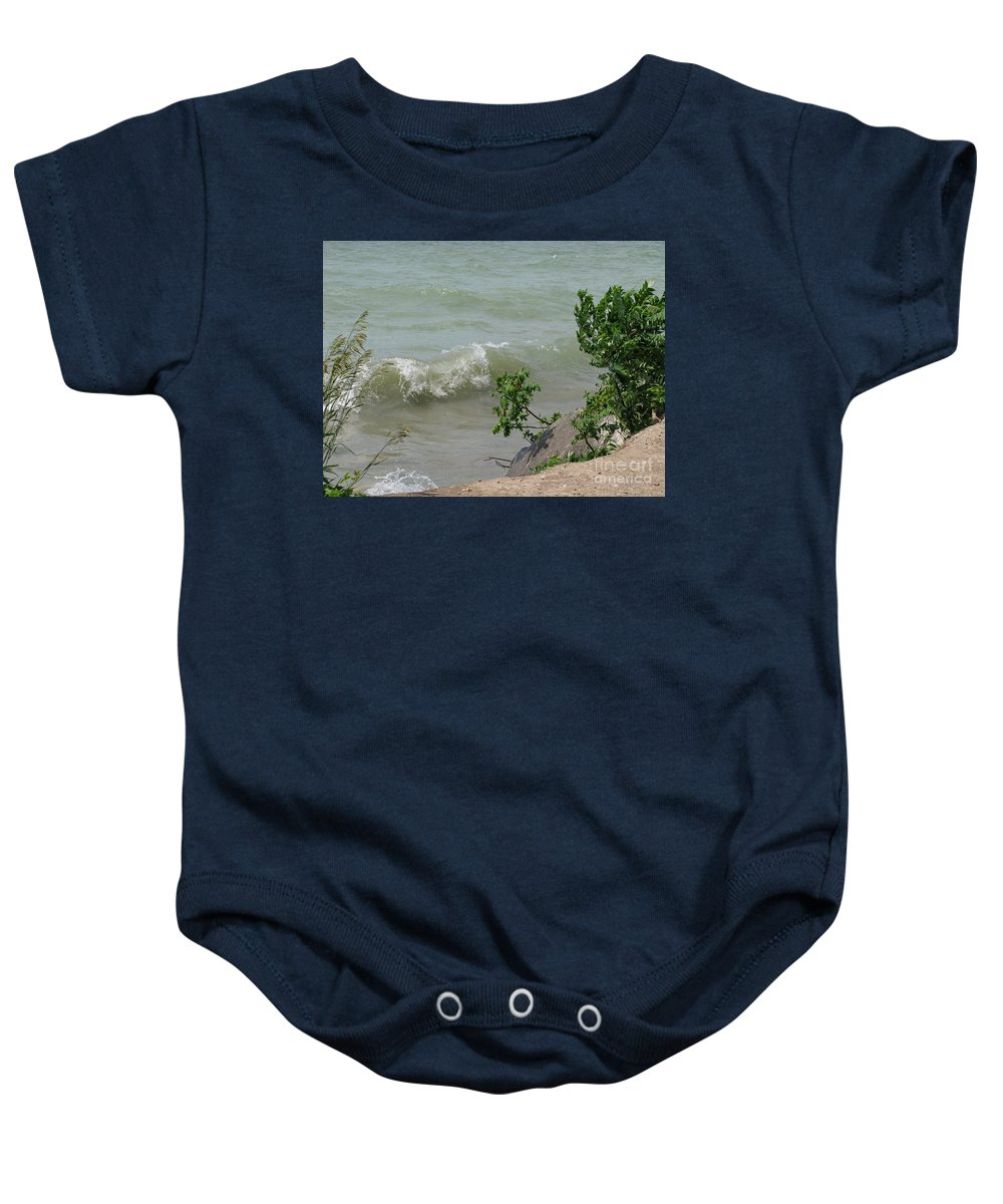 Lake Baby Onesie featuring the photograph Pelee Shore by Ann Horn
