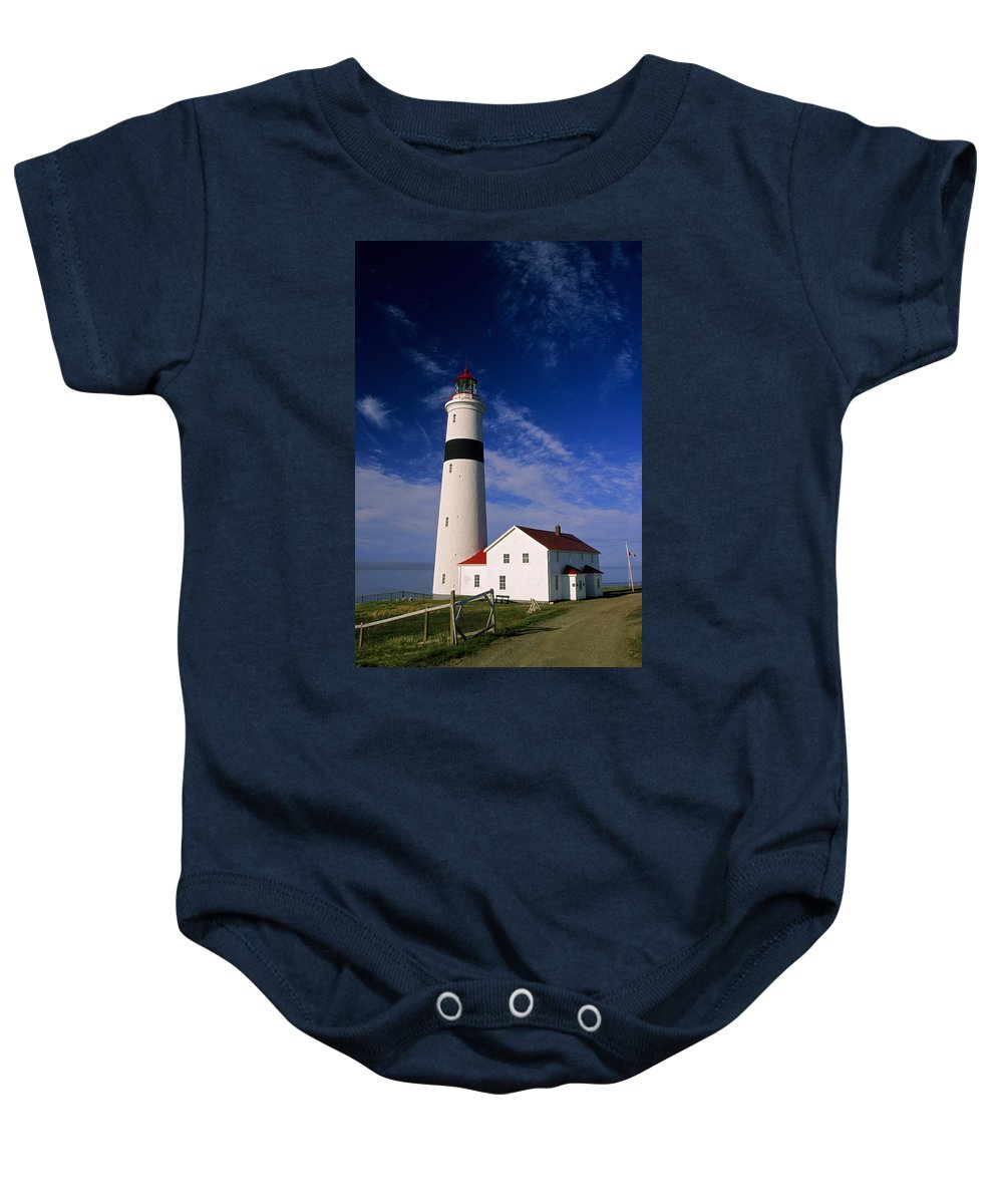 Color Images Baby Onesie featuring the photograph Point Lamour Lighthouse by John Sylvester