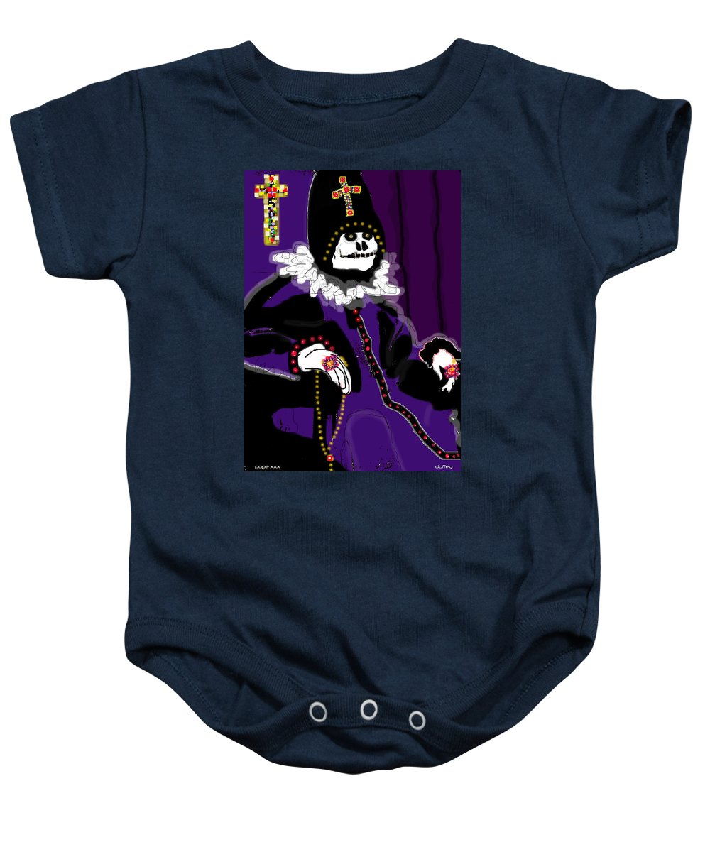 Digital Drawing Baby Onesie featuring the photograph Pope Xxx by Doug Duffey