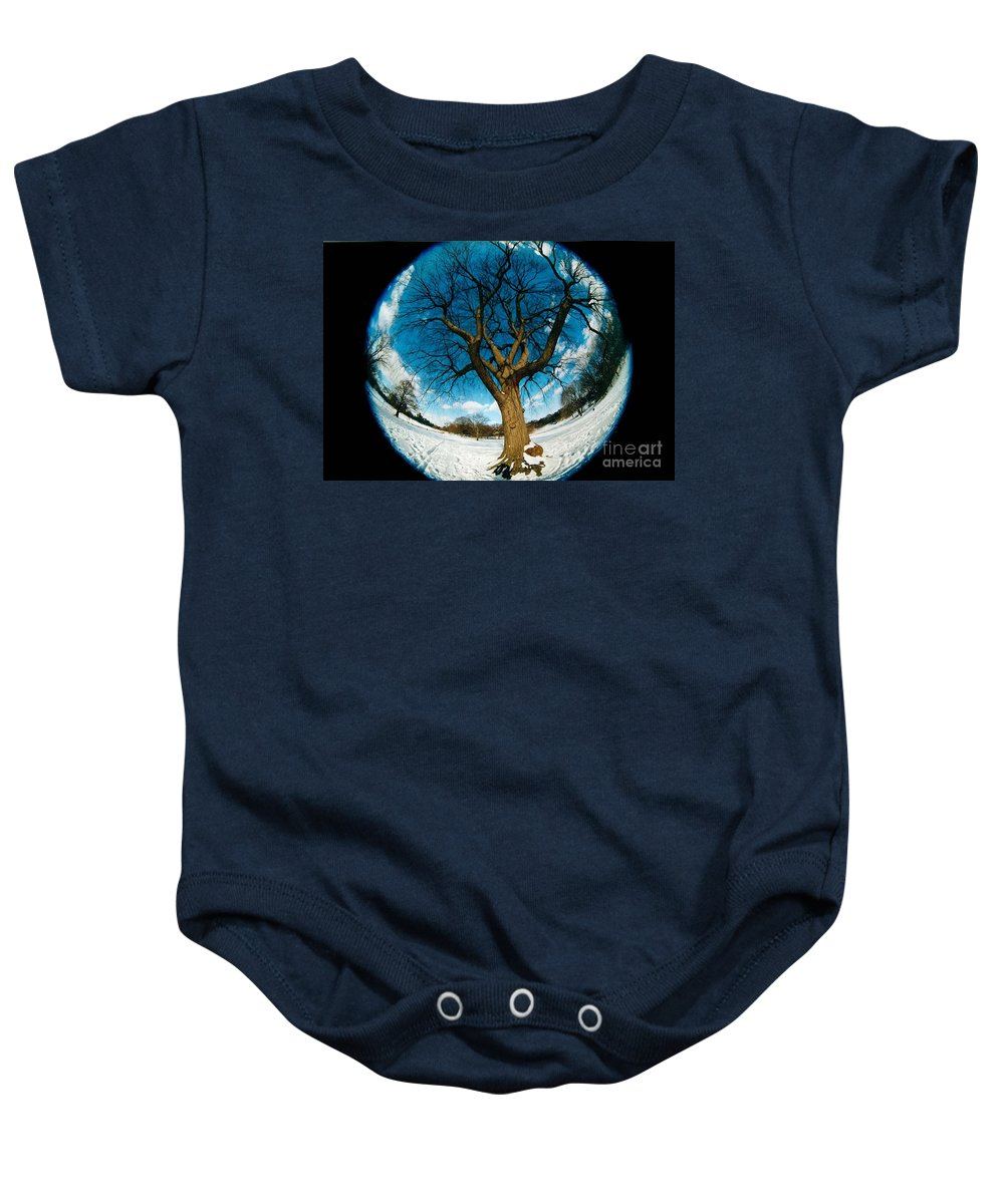 Fisheye Baby Onesie featuring the photograph Prospect Park Tree by Mark Gilman
