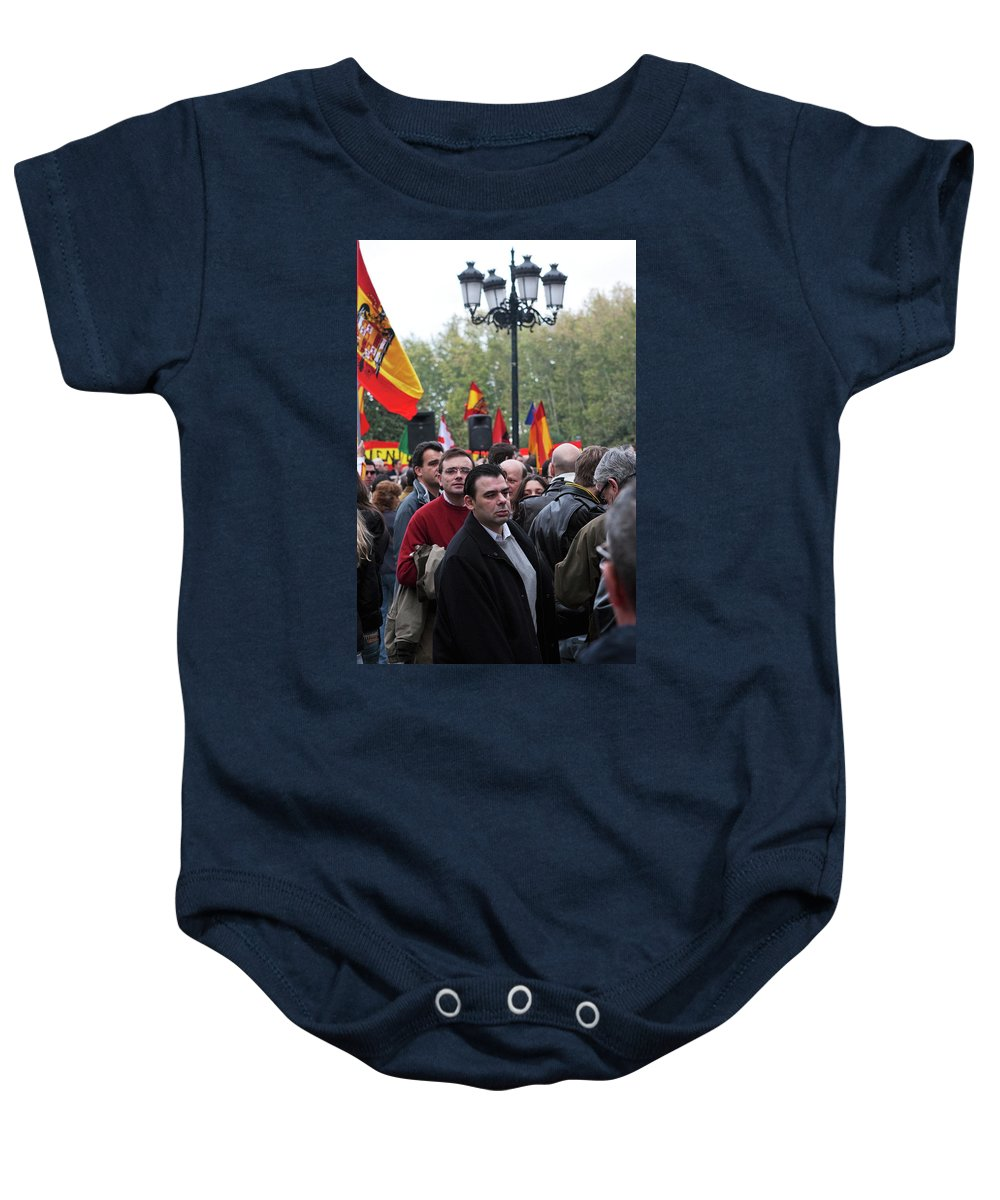 Madrid Baby Onesie featuring the photograph Protest In The Plaza by Lorraine Devon Wilke