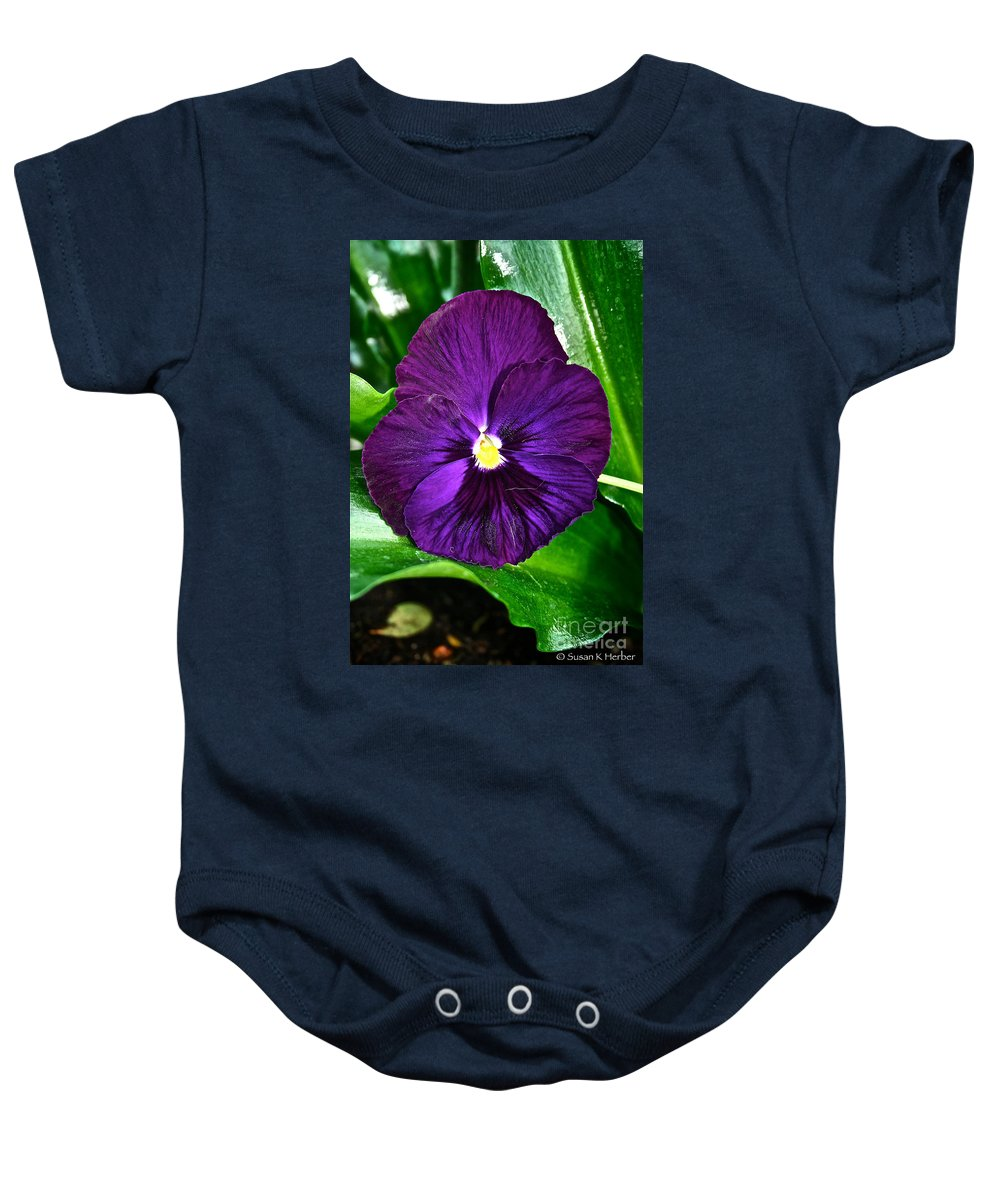 Tropical Plant Baby Onesie featuring the photograph Pure Purple by Susan Herber