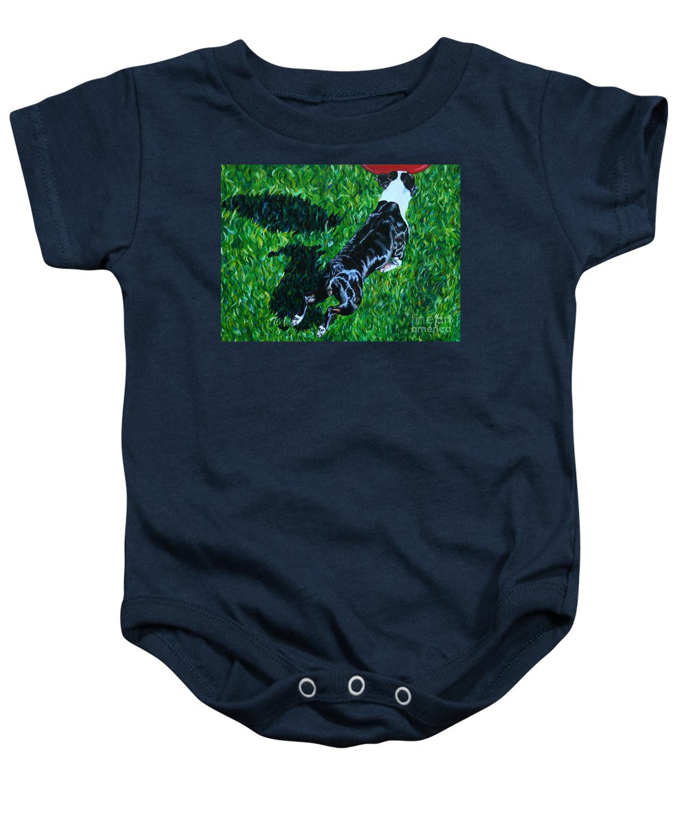 Boston Terrier Baby Onesie featuring the painting Red Ball Flight by Susan Herber