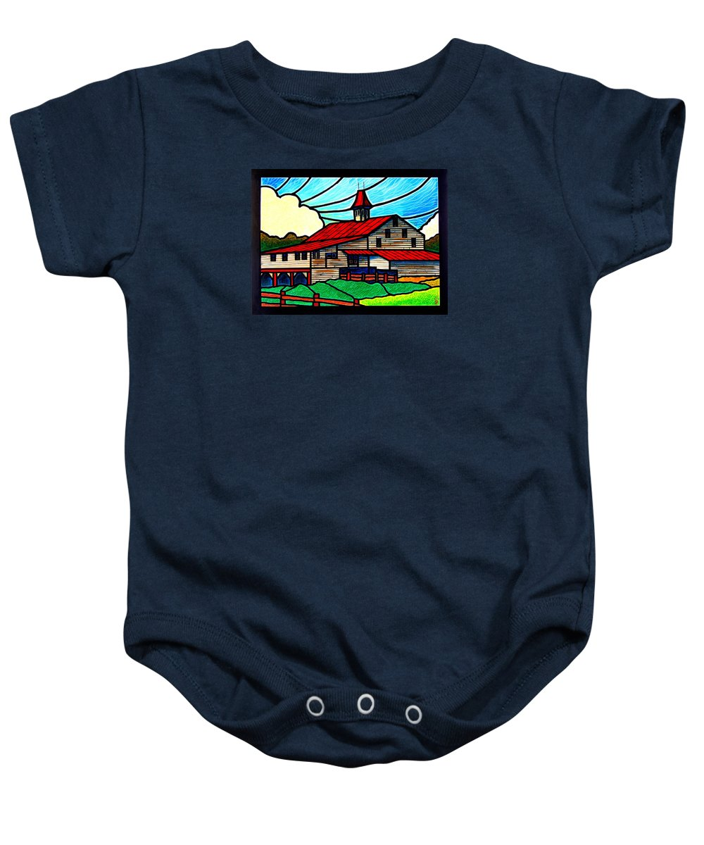 Old Baby Onesie featuring the painting Red Roof Barn On Osceola Springs Road by Jim Harris