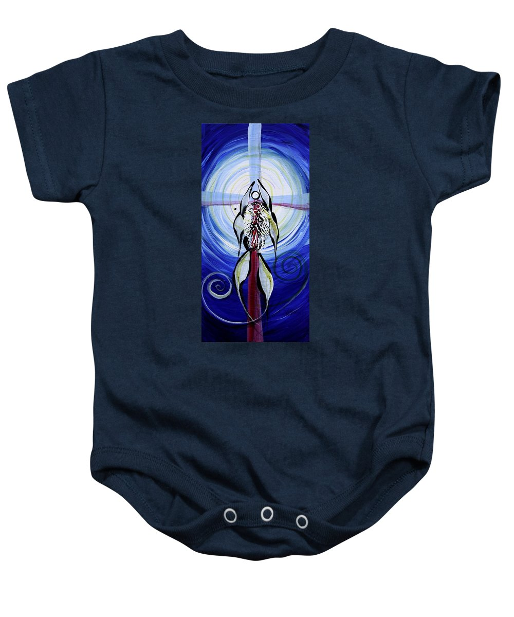 Fish Baby Onesie featuring the painting Reflection Of Faith 17 Before by J Vincent Scarpace
