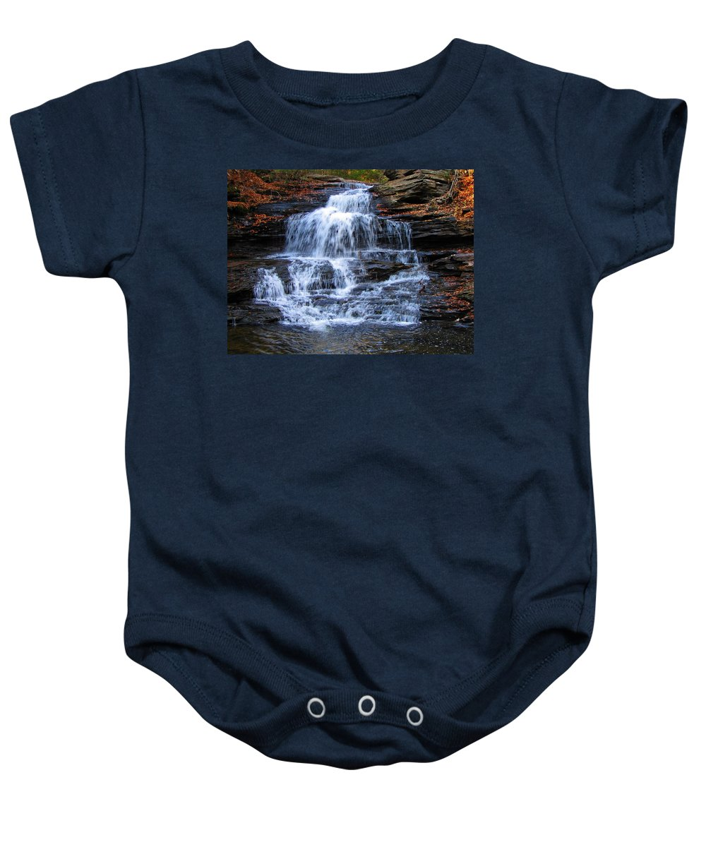 Ricketts Glen Baby Onesie featuring the photograph Ricketts Glen Waterfall 4075 by David Dehner