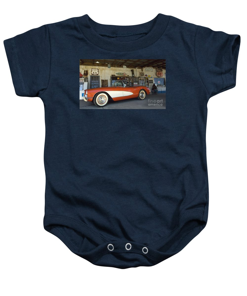 Flames Baby Onesie featuring the photograph Route 66 Corvette by Bob Christopher