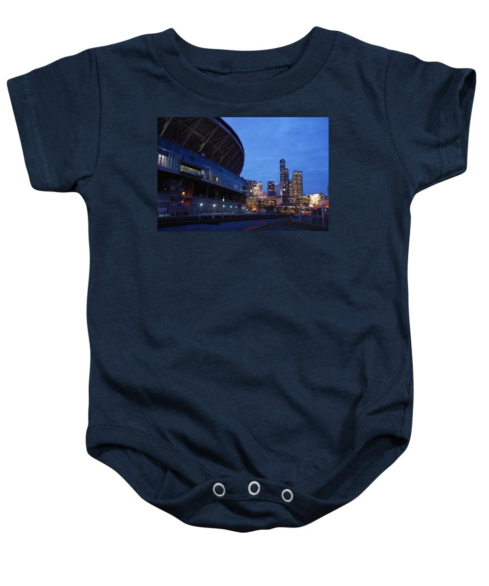 Seattle Baby Onesie featuring the photograph Seattle Sky At Dusk by Michael Merry