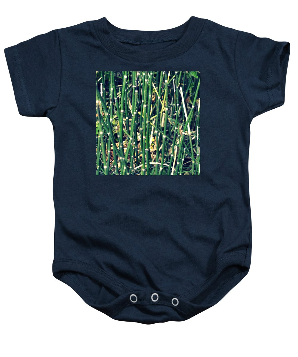 Nautical Baby Onesie featuring the photograph Snake Grass On The Beach by Michelle Calkins