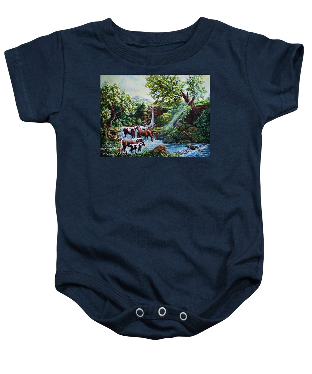Horse Baby Onesie featuring the painting Srb Wild Horses by Susan Herber