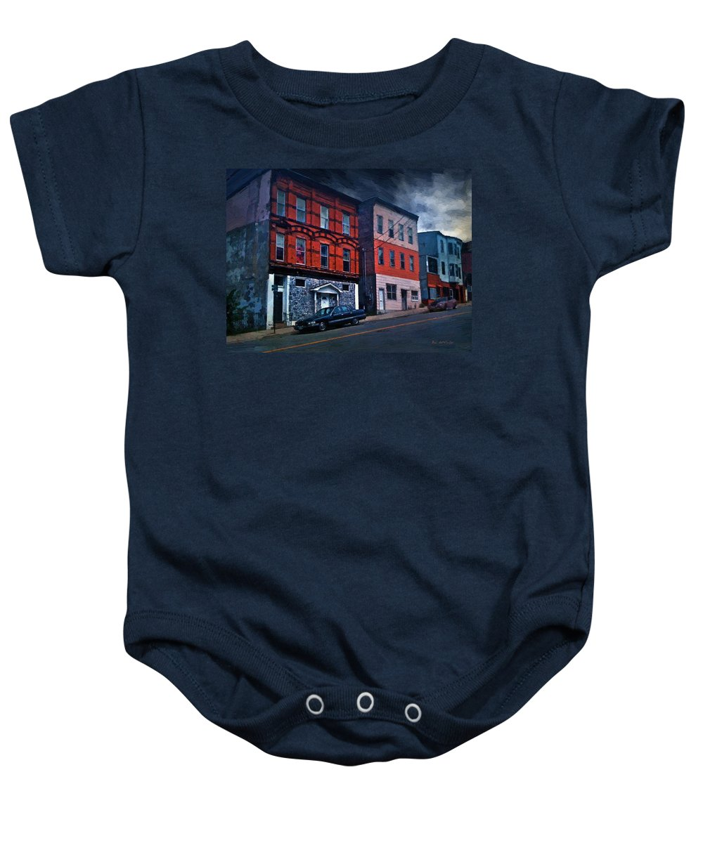 Landscape Baby Onesie featuring the painting Stormy Monday by RC DeWinter