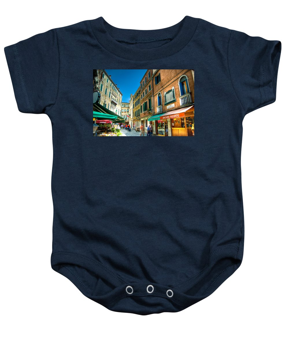 Venice Baby Onesie featuring the photograph Streets Of Venice by Jon Berghoff