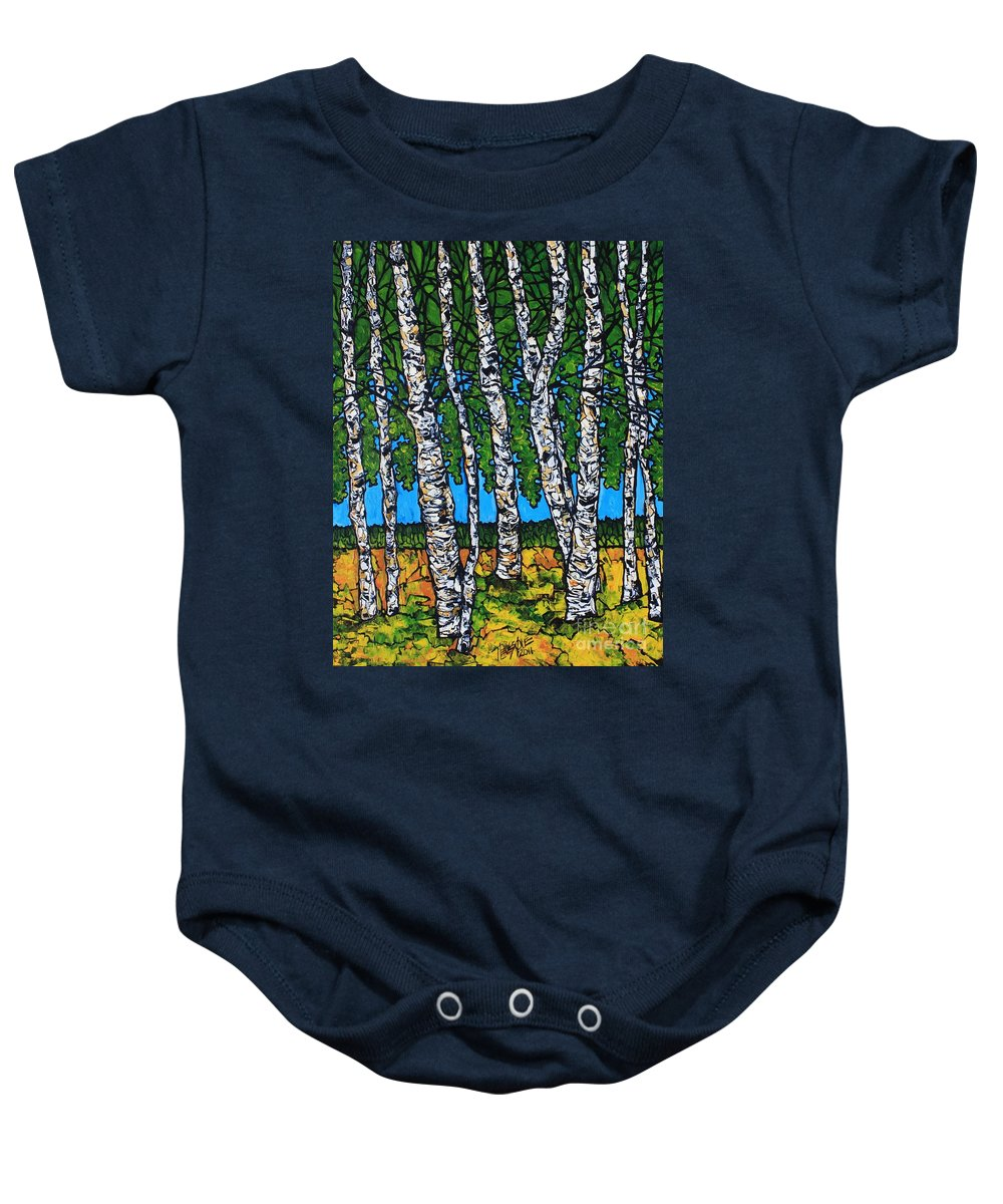 Birches Baby Onesie featuring the painting Summer Birches by Tracy Levesque