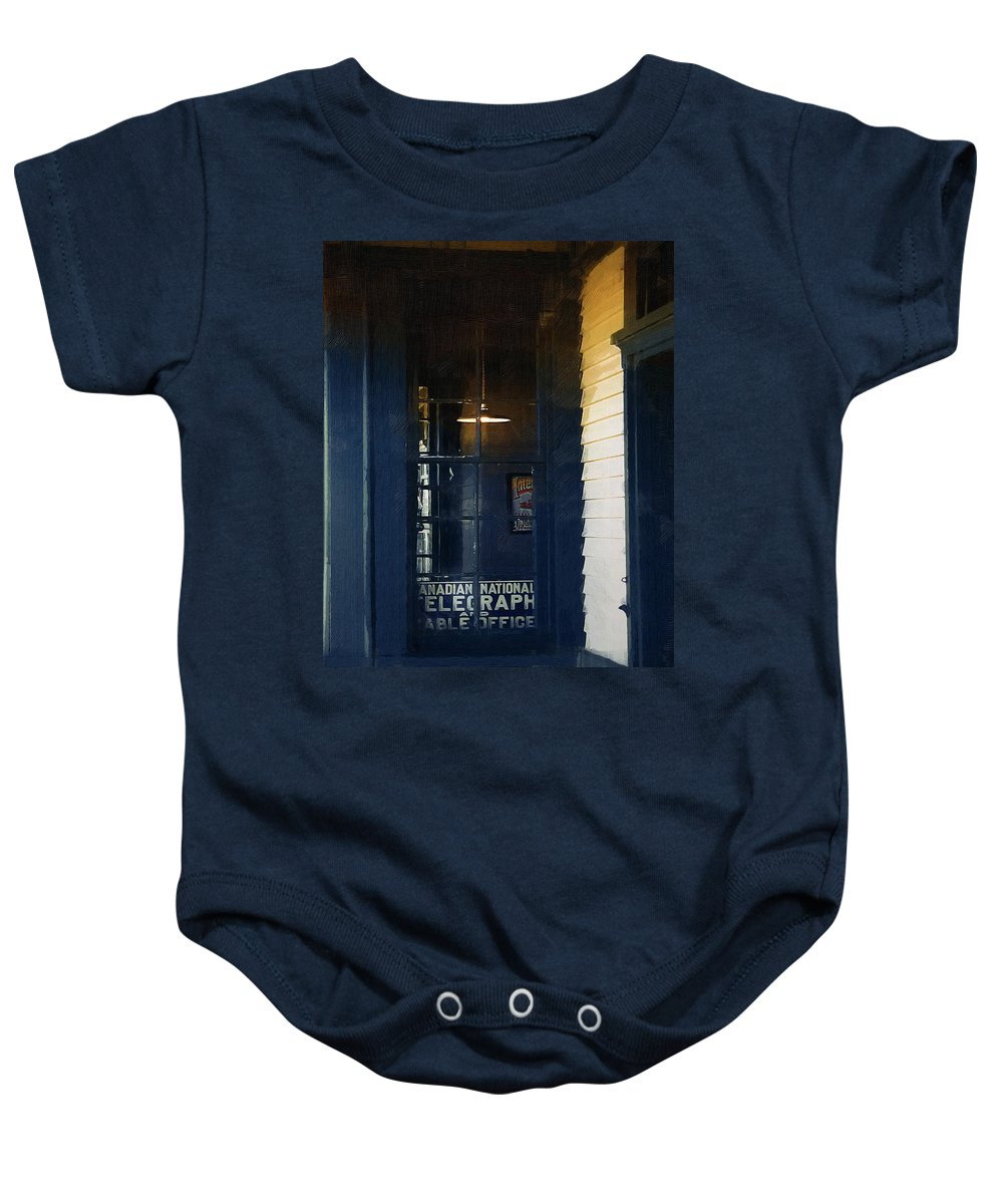 Architecture Baby Onesie featuring the painting Sunset At Elmira Station by RC DeWinter