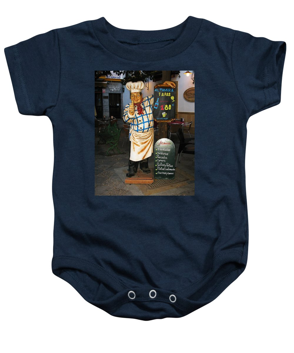 Tapas Baby Onesie featuring the photograph Tapas Man In Spain by Greg Matchick
