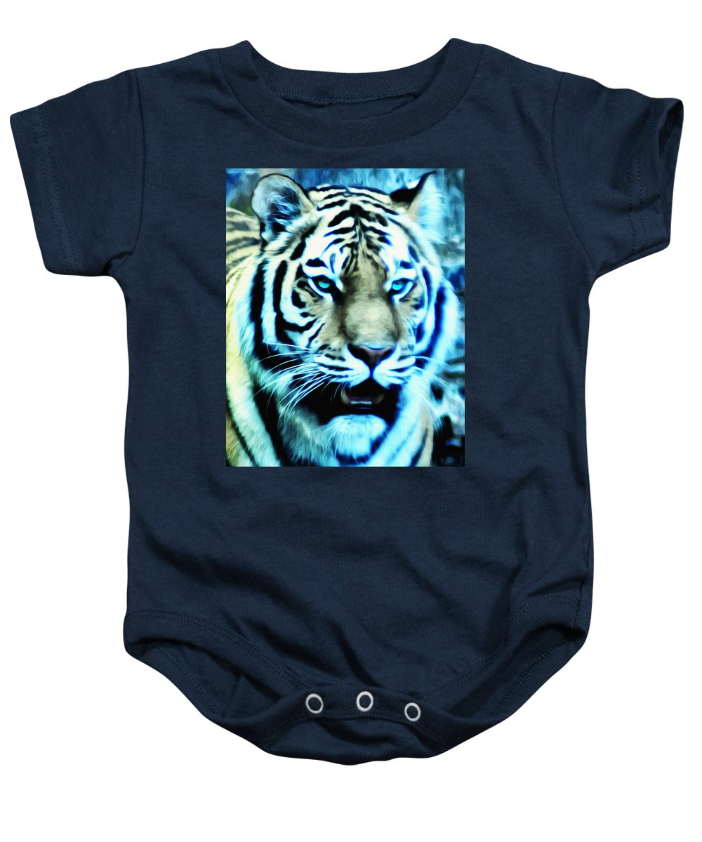 The Fierce Tiger Baby Onesie featuring the photograph The Fierce Tiger by Bill Cannon