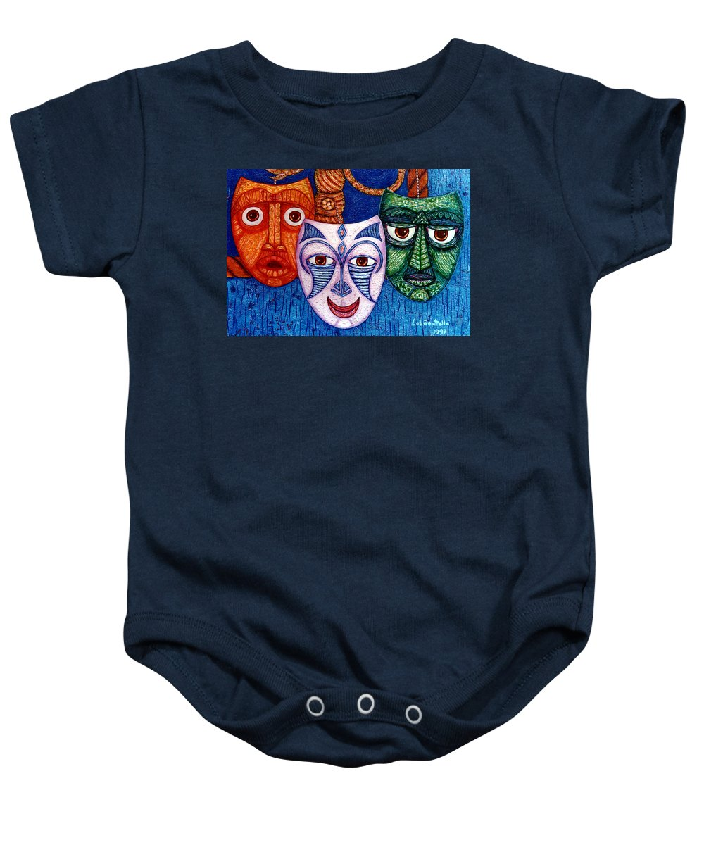 Madwoman Baby Onesie featuring the painting The Joy The Anger And The Fear by Madalena Lobao-Tello