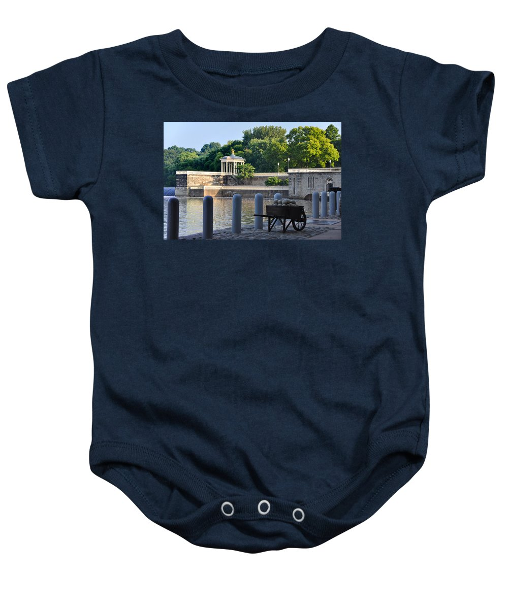 Waterworks Baby Onesie featuring the photograph The Waterworks Wheelbarrow - Philadelphia by Bill Cannon